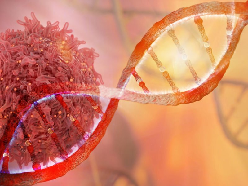 photo of DNA strand and Cancer Cell Oncology Research Concept 3D rendering