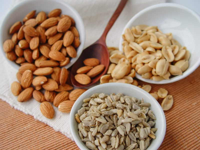 photo of almonds, sunflower seeds, and peanuts